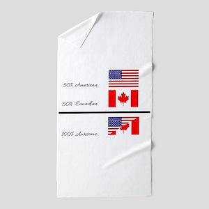Half Canadian Half American completely Beach Towel