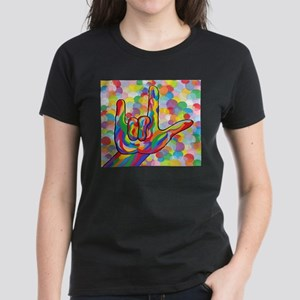 ASL I Love You with Bubble Background T-Shirt