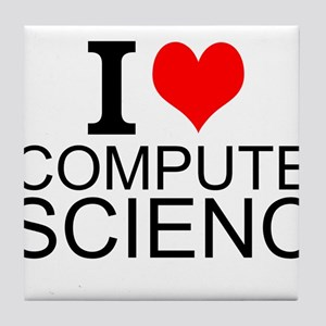 I Love Computer Science Tile Coaster