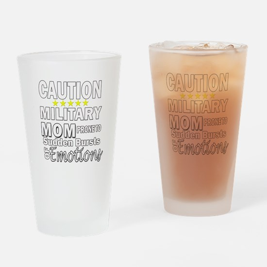 Caution Military Mom Drinking Glass