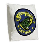 USS HAWKBILL Burlap Throw Pillow