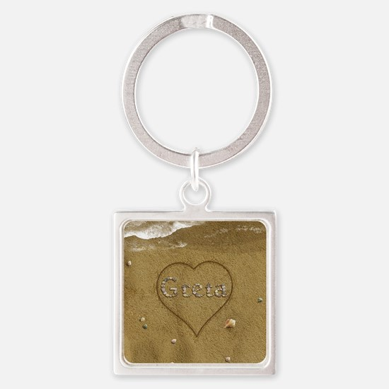Greta Beach Love Square Keychain
