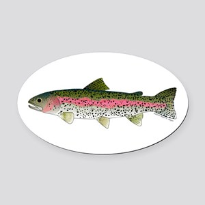 Rainbow Trout - Stream Oval Car Magnet