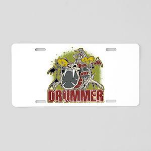 Skeleton Drummer Aluminum License Plate