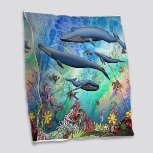Whale Burlap Throw Pillow