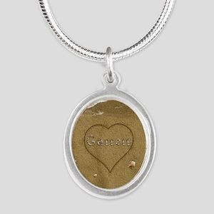 Garrett Beach Love Silver Oval Necklace