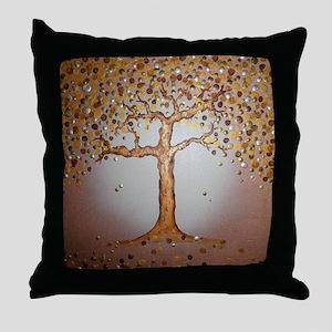 Copper Tree Throw Pillow