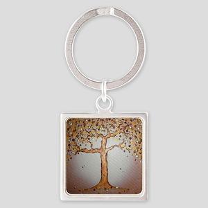 Copper Tree Square Keychain