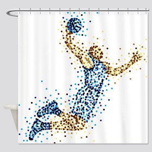 Basketball Player In BLUE Uniform Shower Curtain