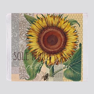 Sunflower Vintage Damask Wallpaper Collage Throw B