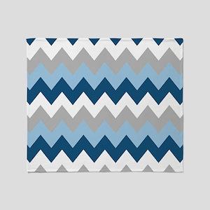 Blue and Gray Chevron Stripes Throw Blanket