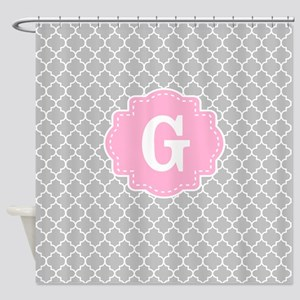 Gray Pink Quatrefoil Monogram Shower Curtain