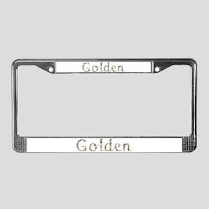 Golden Seashells License Plate Frame