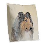 Collie (Rough) Burlap Throw Pillow