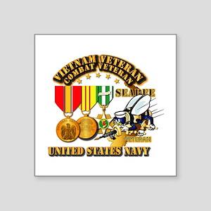 "Navy - Seabee - Vietnam Vet Square Sticker 3"" x 3"""