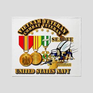 Navy - Seabee - Vietnam Vet - w Meda Throw Blanket
