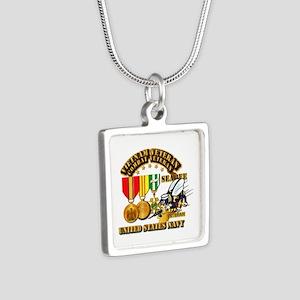 Navy - Seabee - Vietnam Ve Silver Square Necklace