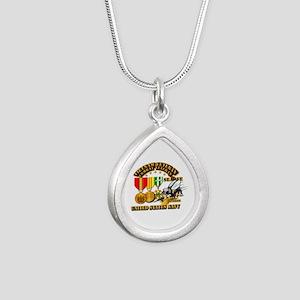 Navy - Seabee - Vietnam Silver Teardrop Necklace