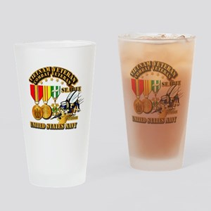 Navy - Seabee - Vietnam Vet - w Med Drinking Glass