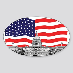 US Capitol Building American Sticker (Oval)