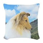 Collie (Rough) Woven Throw Pillow