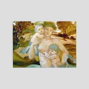 Mermaid & Offspring by Edward Burne 5'x7'Area Rug