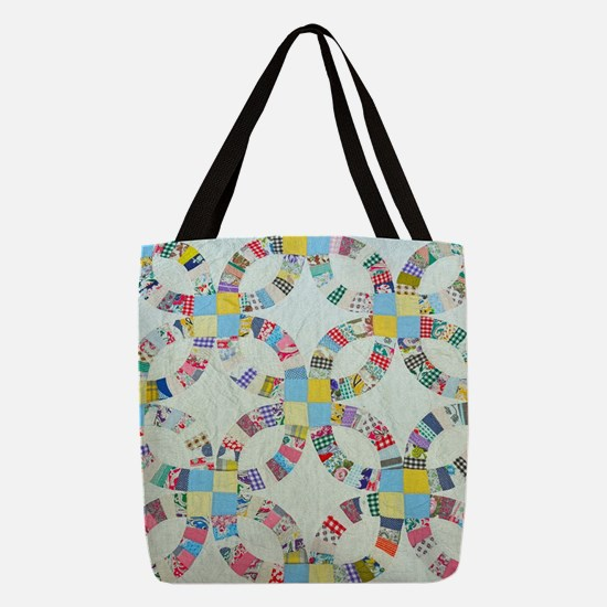 Colorful patchwork quilt Polyester Tote Bag