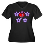 Girly Design Women's Plus Size V-Neck Dark T-Shirt