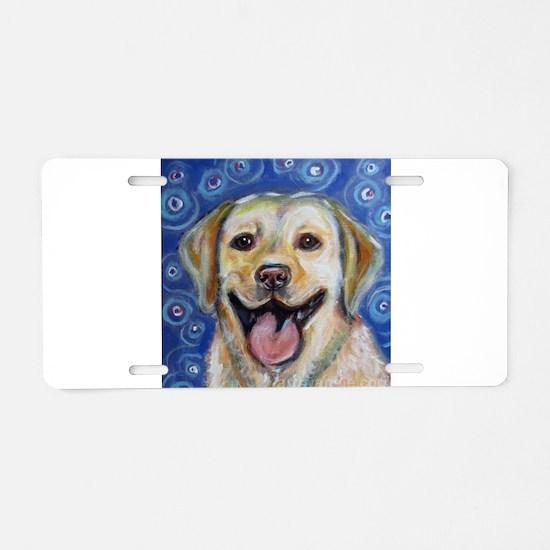 Cute Yellow labrador retriever Aluminum License Plate