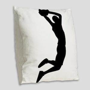 Slam Dunk Black Burlap Throw Pillow