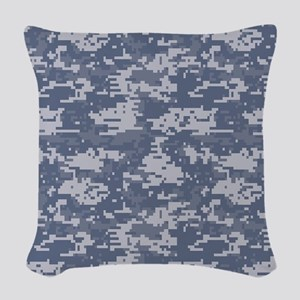 blue digital military camouflage Woven Throw Pillo