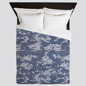 blue digital military camouflage Queen Duvet