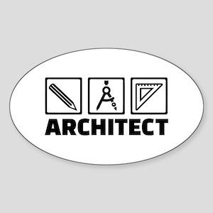 Architect tools compass Sticker (Oval)