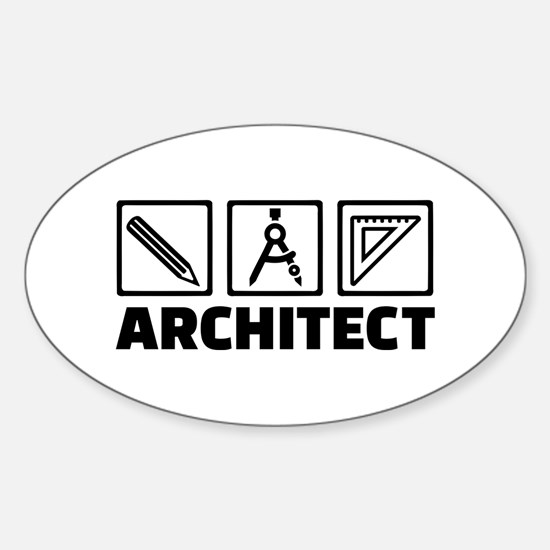 Architect tools compass Sticker (Oval)