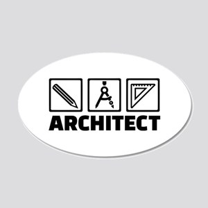 Architect tools compass 20x12 Oval Wall Decal