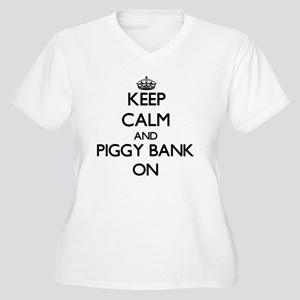 Keep Calm and Piggy Bank ON Plus Size T-Shirt