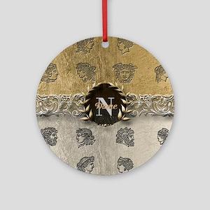 Ancient Gold Platinum Sq Monogram Ornament (Round)