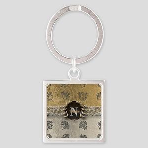 Ancient Gold Platinum Sq Monogram Keychains