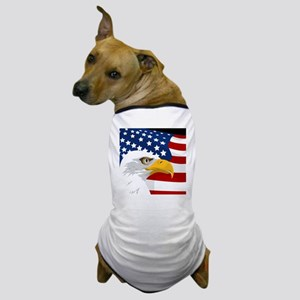 Bald Eagle On American Flag Dog T-Shirt