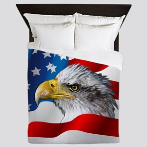 Bald Eagle On American Flag Queen Duvet
