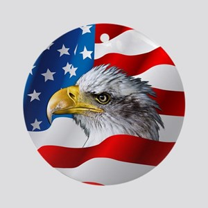 Bald Eagle On American Flag Round Ornament