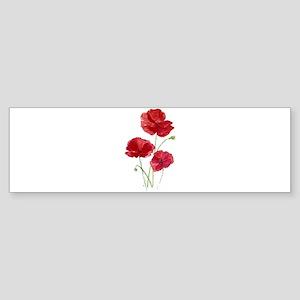 Watercolor Red Poppy Garden Flower Bumper Sticker