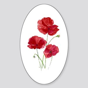 Watercolor Red Poppy Garden Flower Sticker