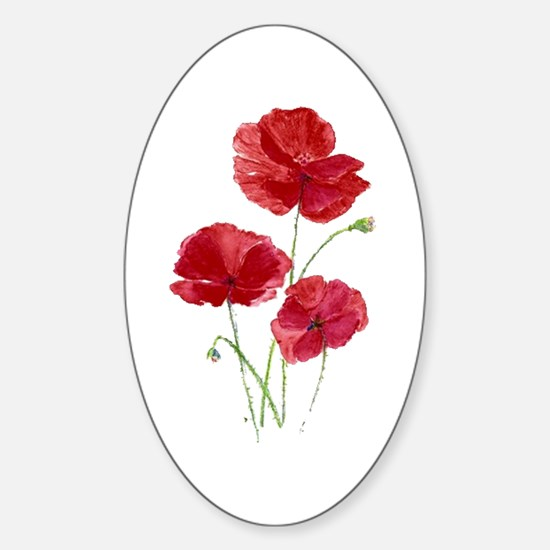 Watercolor Red Poppy Garden Flower Decal