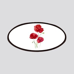 Watercolor Red Poppy Garden Flower Patch