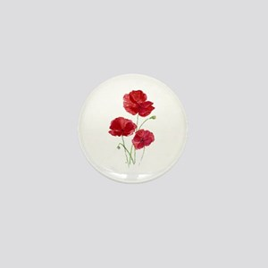 Watercolor Red Poppy Garden Flower Mini Button