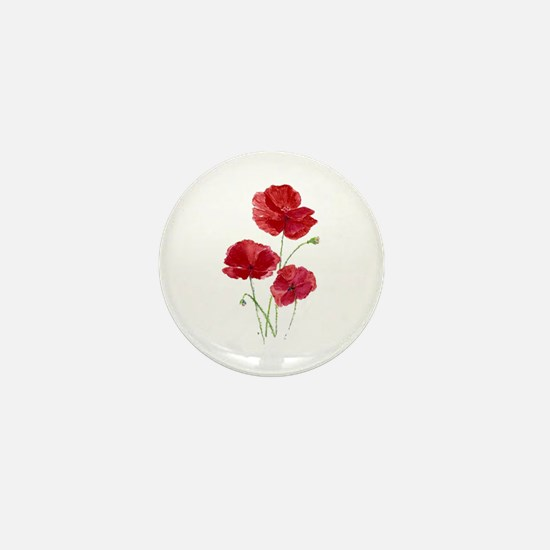 Watercolor Red Poppy Garden Flower Mini Button