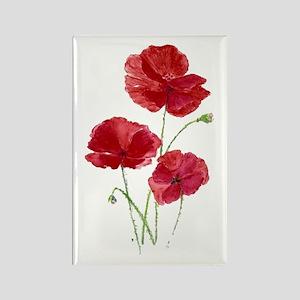 Watercolor Red Poppy Garden Flower Magnets