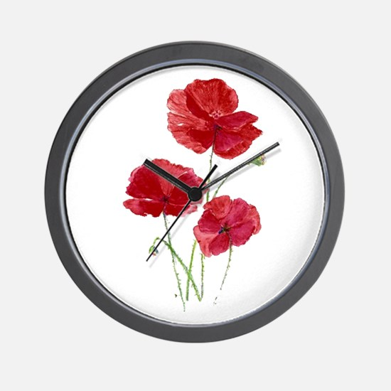 Watercolor Red Poppy Garden Flower Wall Clock