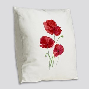 Watercolor Red Poppy Garden Flower Burlap Throw Pi